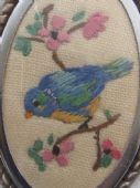 Hand Embroidered Brooch - Blue Tit on Branch circa 1940's - 1950s (SOLD)